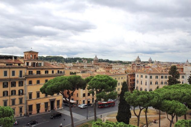 View from the top of the Altare della Patria in Rome Italy