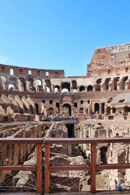 Inside the Colosseum in Rome Italy