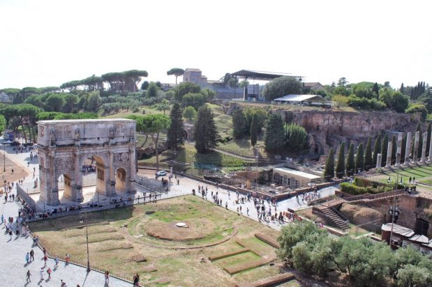 View from the top level of the Colosseum in Rome Italy
