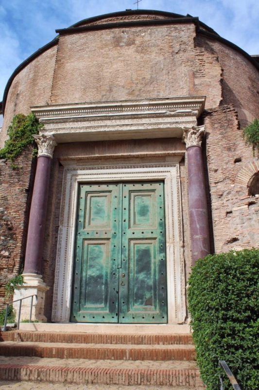 Original bronze doors of the Temple of Divus Romulus in Rome Italy