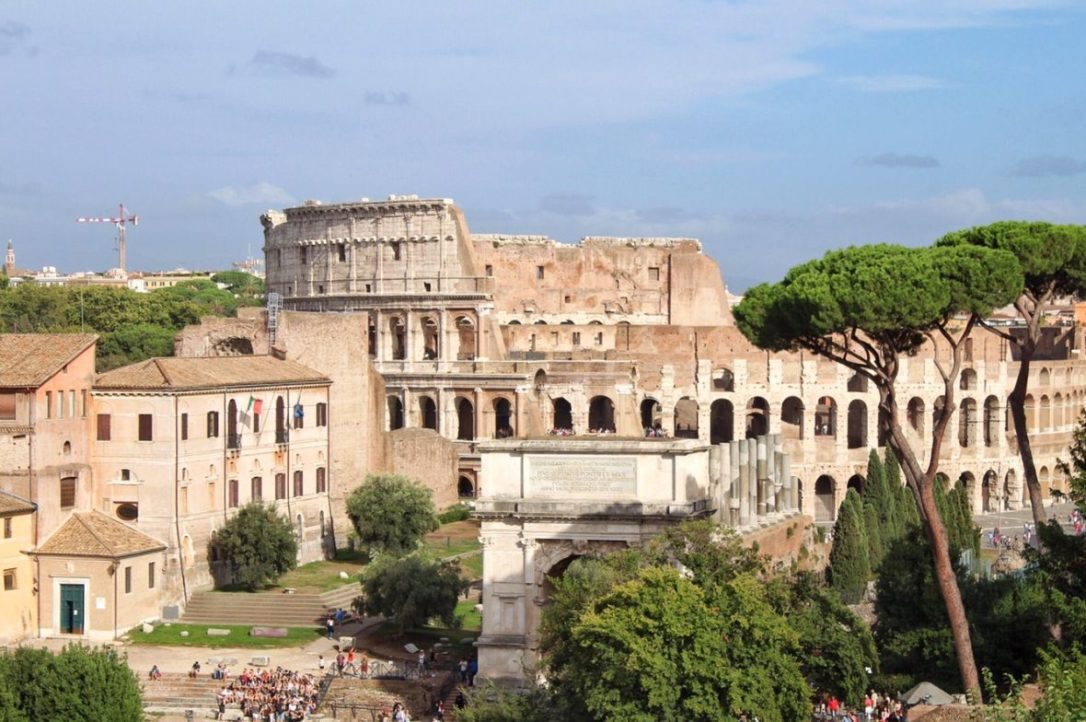 View of the Colosseum from the top of Palatine Hill in Rome Italy