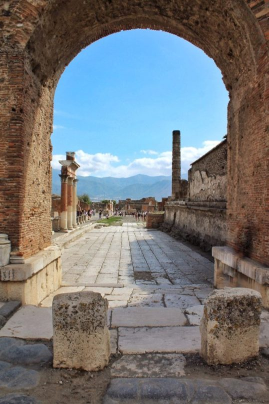 Road Inside the ruined city of Pompeii Italy