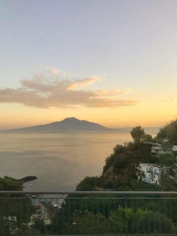 Sunrise coming up over mount Vesuvius in Naples, Italy