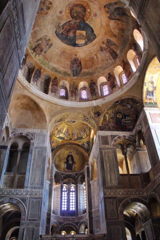Inside the cathedral Hosios Loukas Monastery near Delphi, Greece