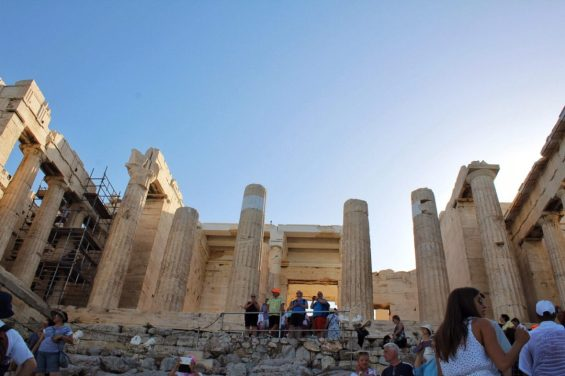 Entrance to the Acropolis in Athens Greece