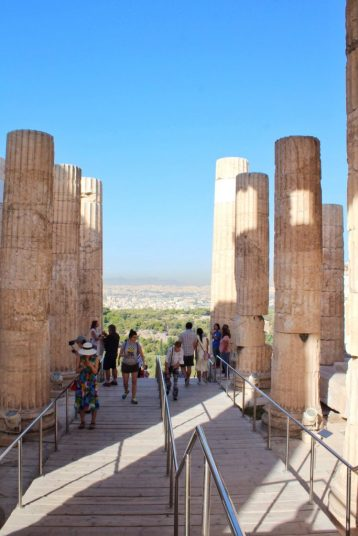 Walking up to the Acropolis in Athens Greece