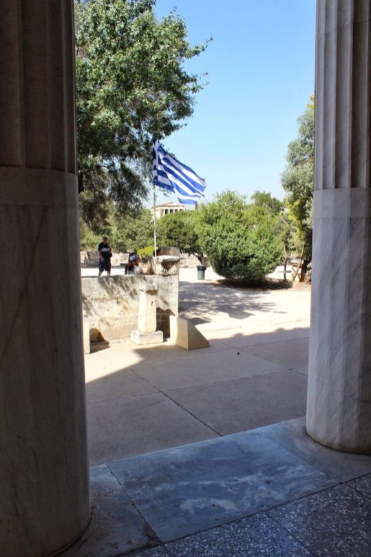View from museum at the ancient Agora in Athens Greece