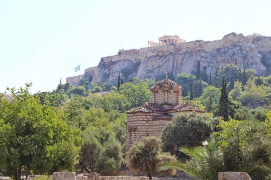 View of Acropolis from Ancient Agora Athens Greece