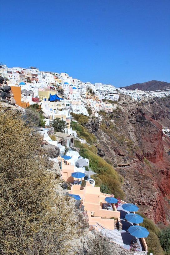 View of the whitewashed buildings in Oia Santorini