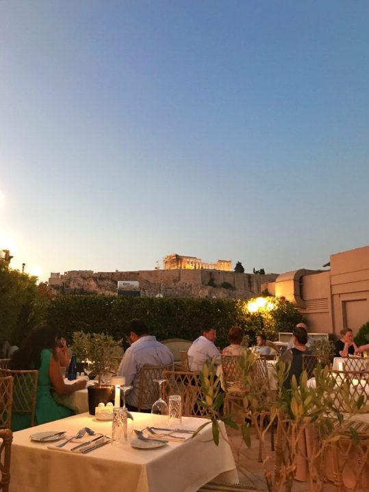 View from rooftop restaurant at Divani Acropolis Hotel in Athens, Greece