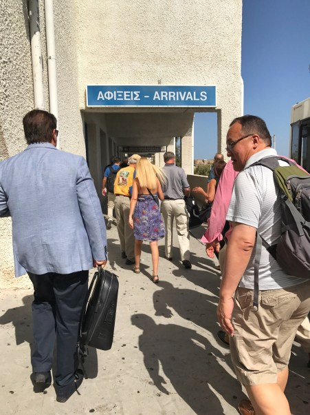 Arriving at the Santorini airport in Thira
