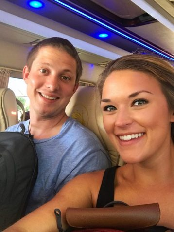 Lauryn and Eric in the van going from Thira to Oia