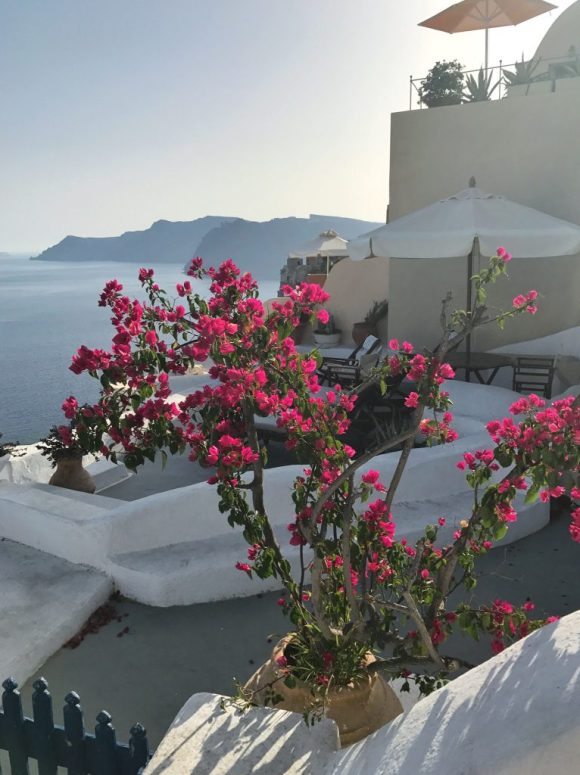 A beautiful porch near our Airbnb in Santorini