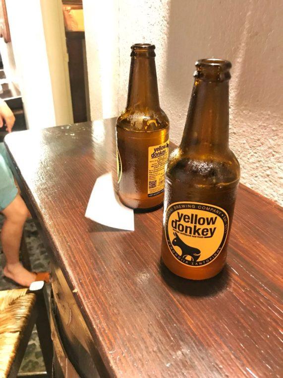 Yellow Donkey Beer at Pito Gyros restaurant in Oia Santorini
