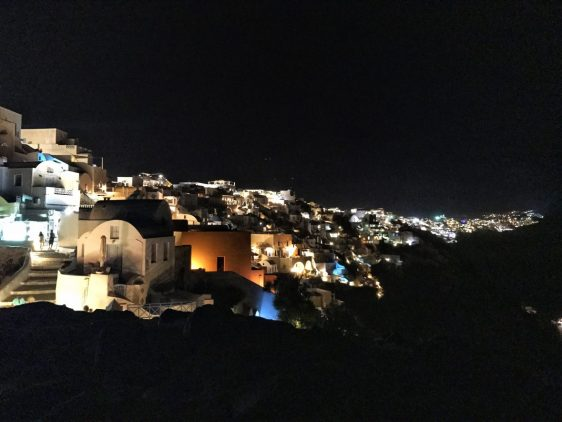 View of Oia Santorini at night
