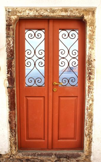 Orange door in Oia, Santorini