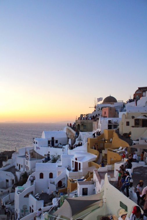Sunset over the town of Oia Santorini
