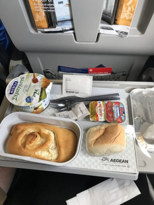 Food on the plane traveling from Santorini to Brussels