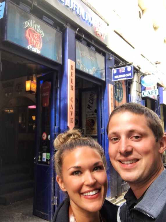 Lauryn and Eric standing outside Delirium Bar in Brussels Belgium