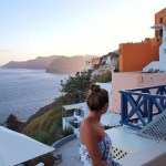 Lauryn looking at the caldera from the Airbnb in Oia, Santorini