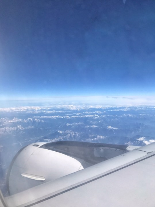 View from the plane over the Dolomites