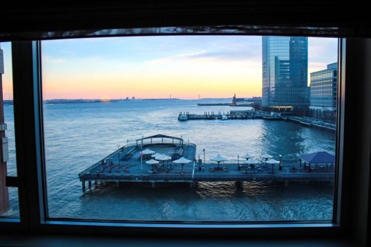 Sunrise over the Hudson River from the Hyatt in Jersey City