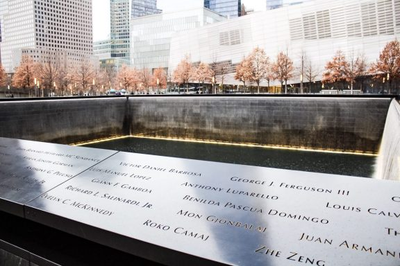 9/11 memorial reflection pool in New York City