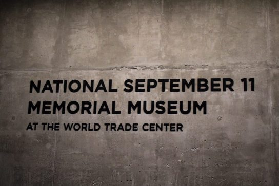 Nation September 11 Memorial Museum Sign in New York City