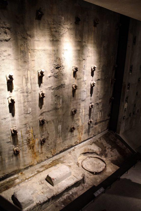 September 11 memorial museum wall in New York City