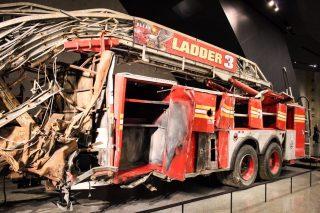 September 11 memorial museum fire engine in New York City