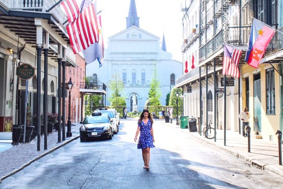 Walking behind Saint Louis Cathedral in New Orleans French Quarter
