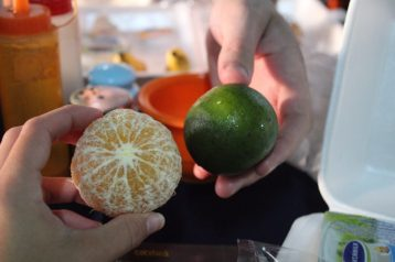 This is a tangerine! We had no idea what it was at first since it was green.