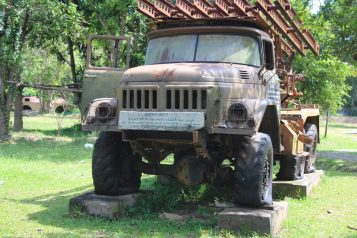 Military truck at the Cambodian War Museum in Siem Reap Cambodia