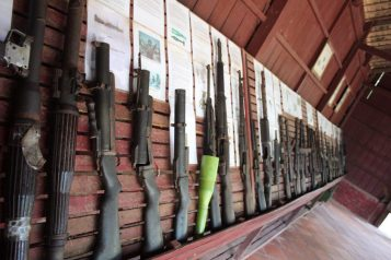 Guns at the Cambodian War Museum in Siem Reap Cambodia