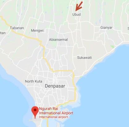 Map Bali airport to Ubud