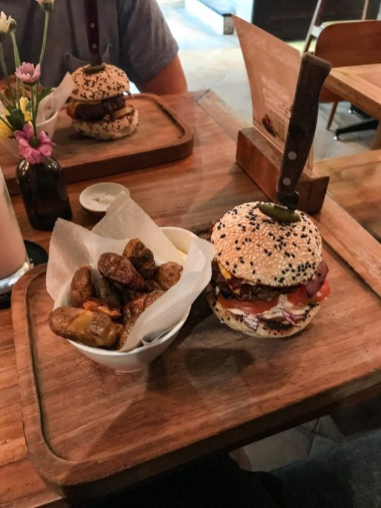 Burgers for dinner at Watercress Cafe in Ubud, Bali Indonesia