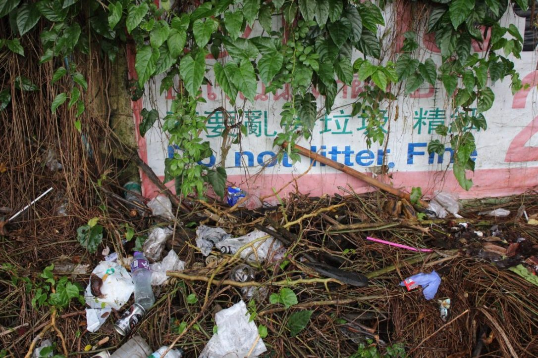 A do not litter sign surrounded by trash in Chiang Mai on our way to Wat Phra That Doi Suthep Chiang Mai