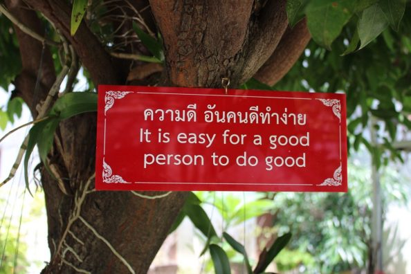 Peaceful sign at Wat Chiang Man Chiang Mai Old City Thailand
