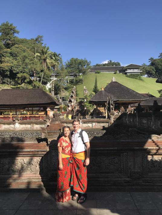 Lauryn and Eric at Tirta Empul Holy Springs Temple Ubud Bali