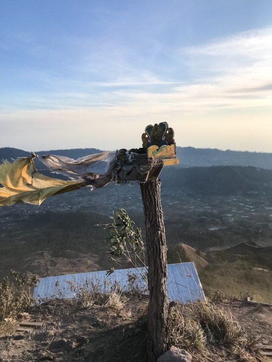 Hindu religious offering at the top of Mount Batur