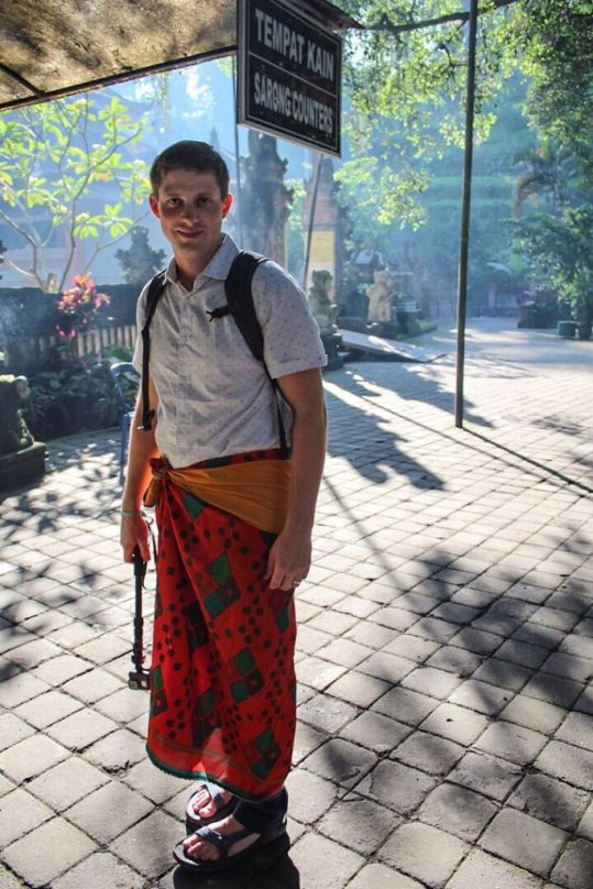 Eric in a traditional sarong at Tirta Empul Holy Springs Temple Ubud Bali