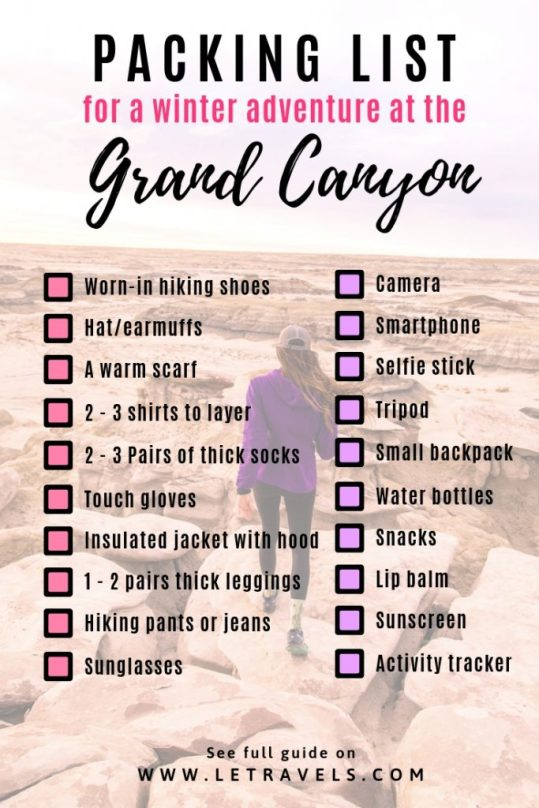 Grand Canyon Winter Packing List | #grandcanyon #wintertravel #travelguide