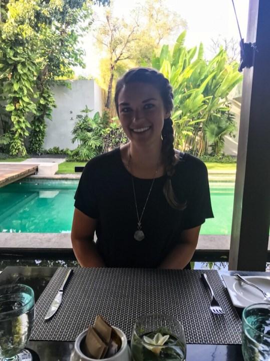 Lauryn eating breakfast at The Amala in Seminyak, Bali