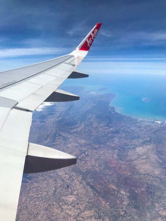 The blue water of Indonesia from the plane