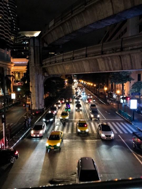 Traffic in Bangkok Thailand at night