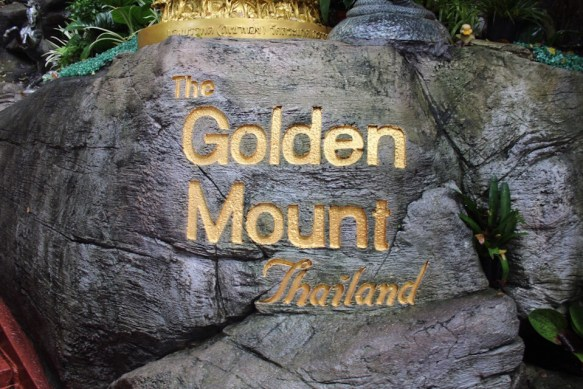 The Golden Mount sign in Bangkok