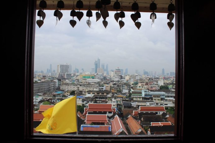 View out the window of Wat Saket in Bangkok