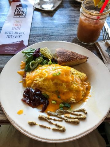 Omelette at Red Dog Diner in the Garden District of New Orleans