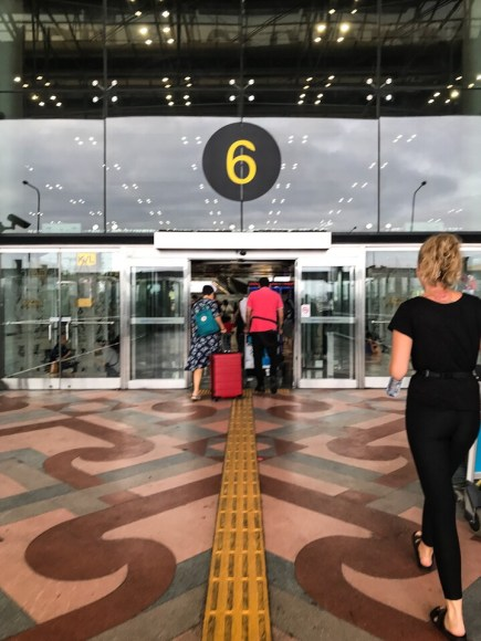 Walking in to the Bangkok airport
