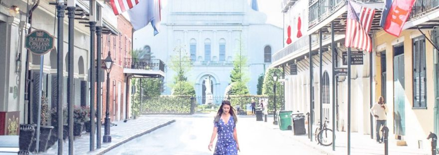 Lauryn walking behind St Louis Cathedral in New Orleans, Louisiana